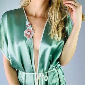 Vintage Green Satin Shortsleeve Kimono Robe floral